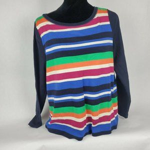Talbots Plus Size Striped Pullover Sweater